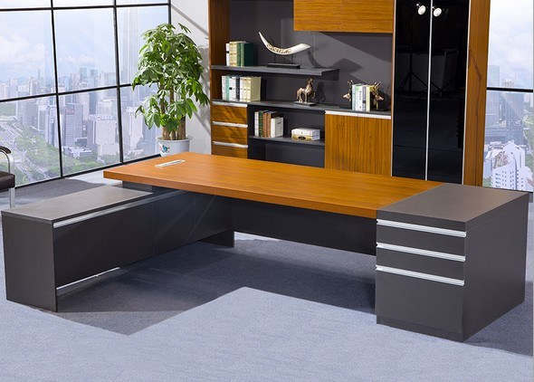 Dark Gry Modesty Panel Oak Desk Top Office Table (HX-NCD193)