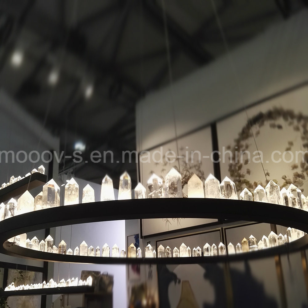Modern Large Luxury Black Round Ring Natural Rocks Crystal Chandelier