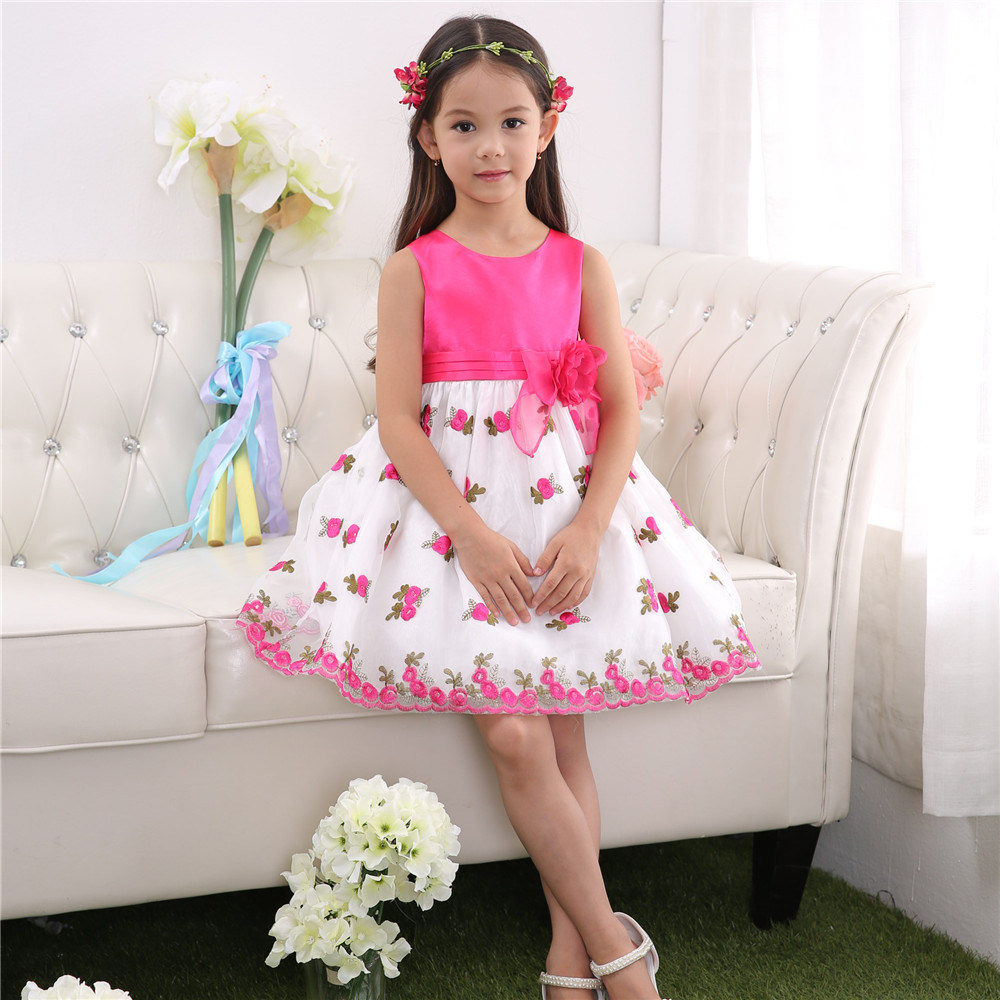 china embroidered pink flower girl dress 2015 hot sale