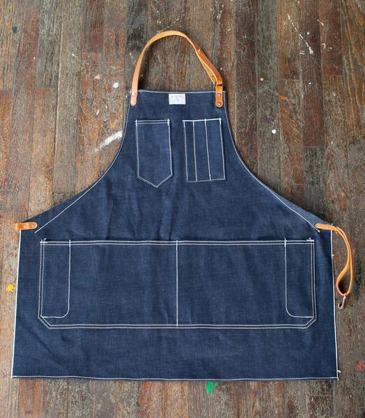 Custom High Quality Denim Apron with Leather Strap