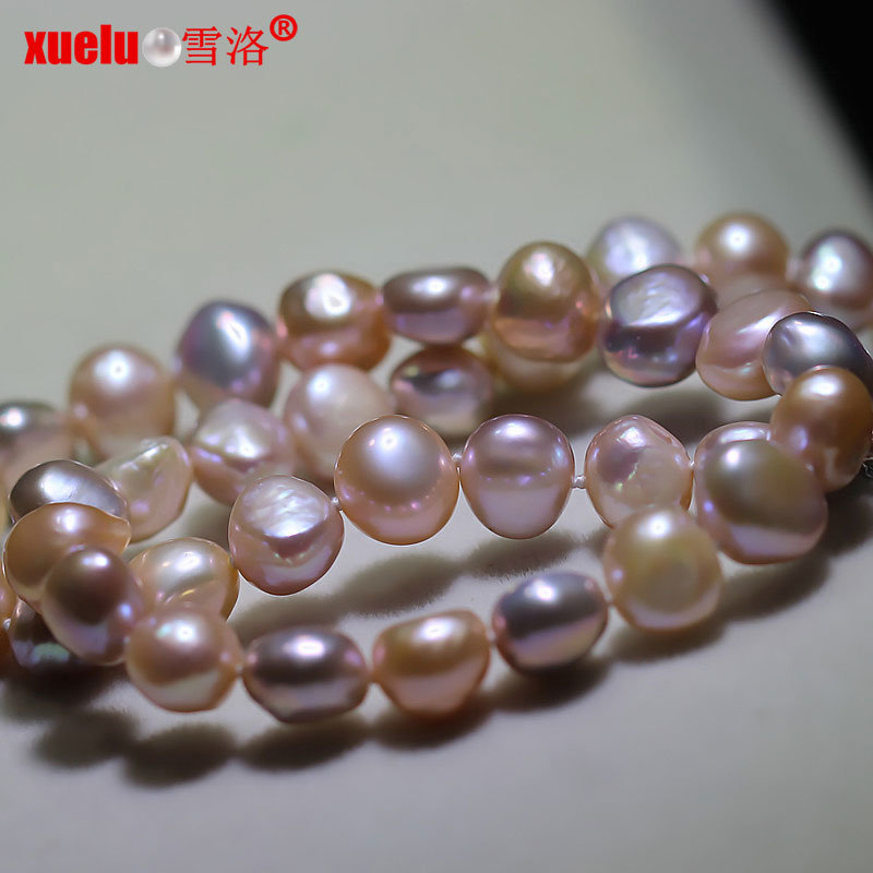 8-9mm Multi-Color Baroque Irregular Shape Freshwater Pearl Necklace (E130137)