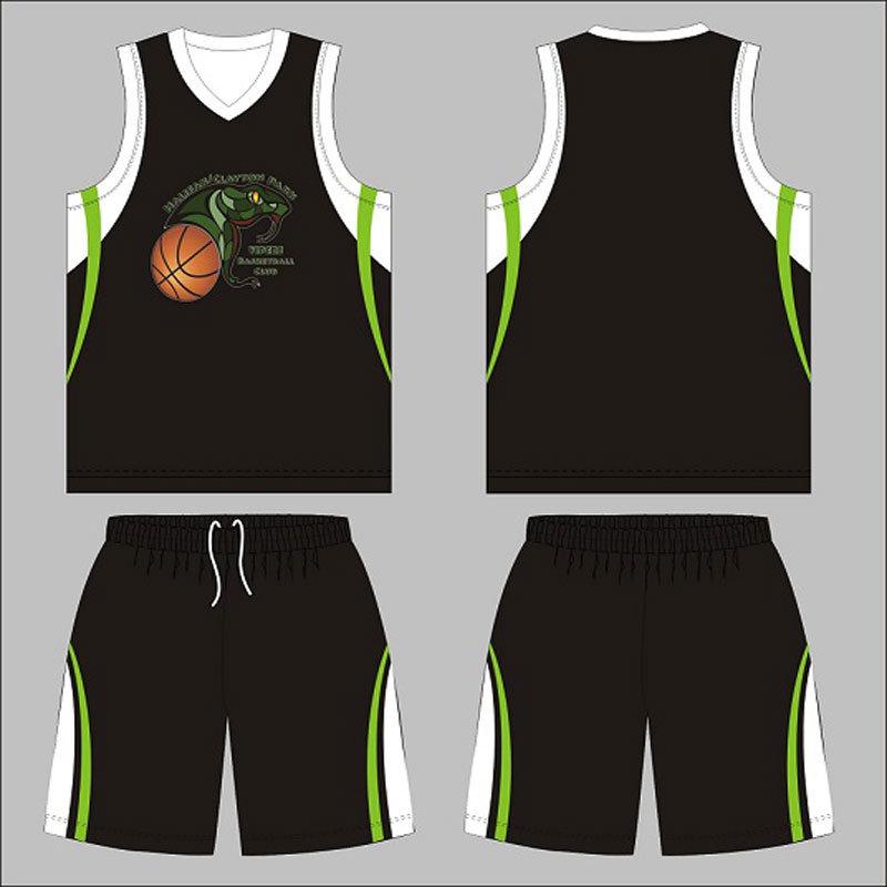 Black Color Custom Design Basketball Uniform for Club