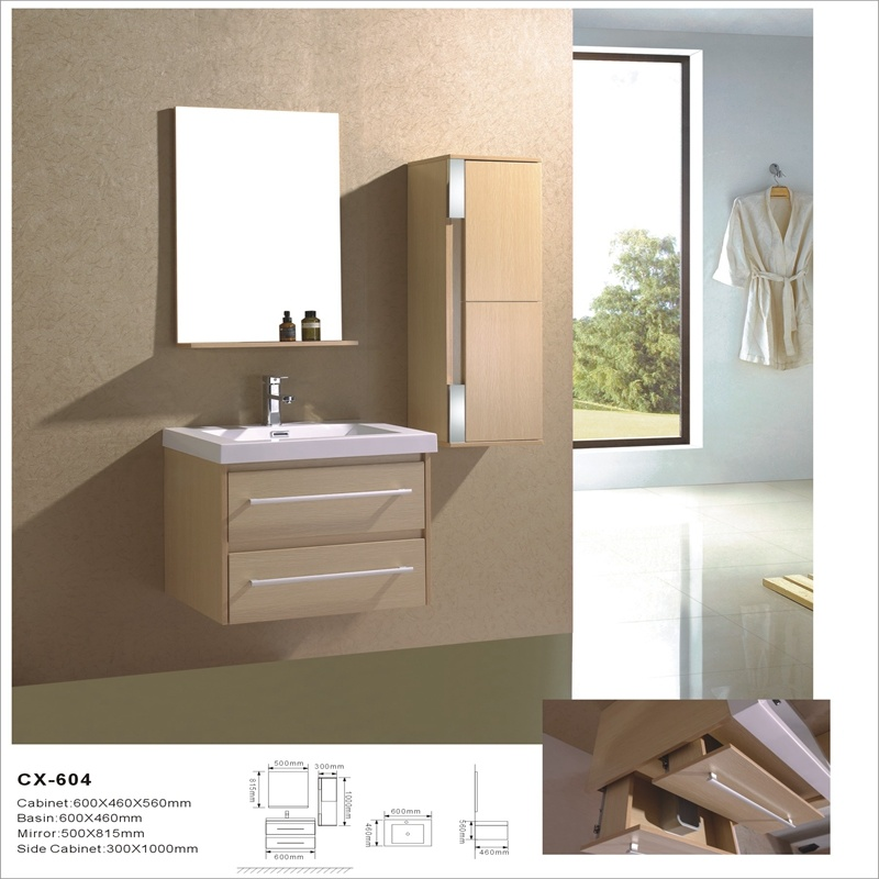 Modern Wall-Mounted PVC Bathroom Vanity with Side Cabinet