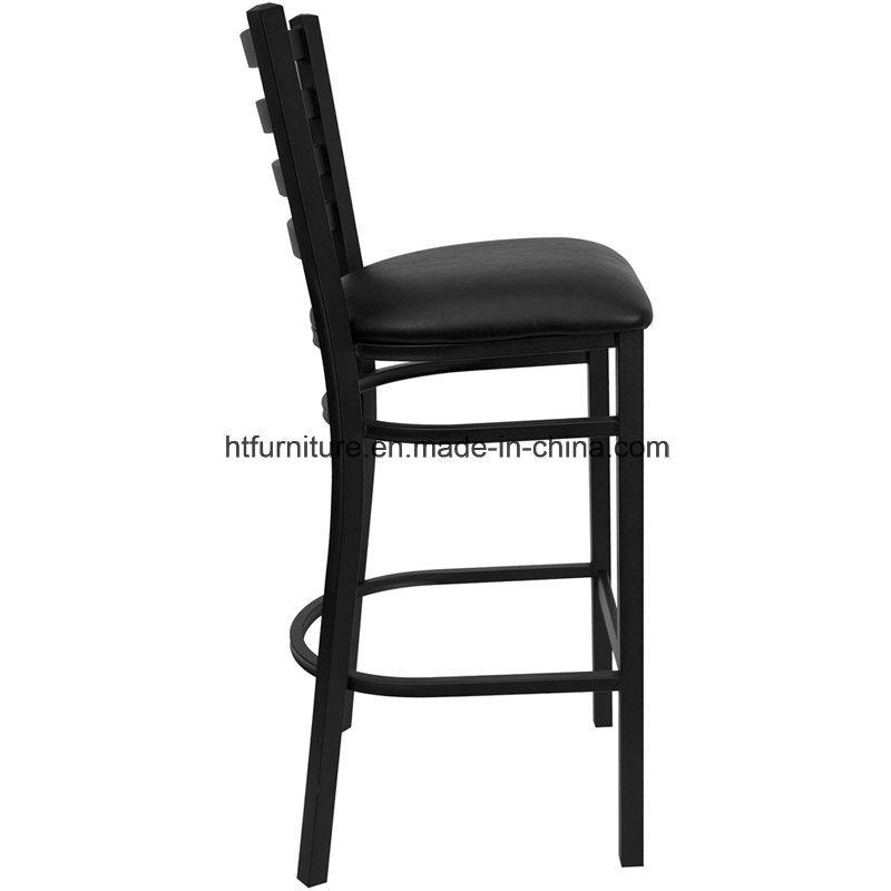 Ladder Back Metal Restaurant Barstool with Vinyl Seat