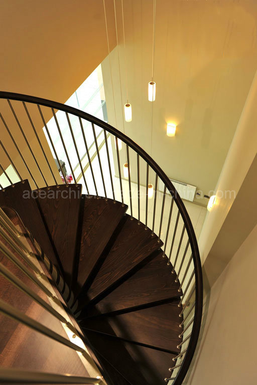 Modern Design Stainless Steel Spiral Staircase with Oak Wood Tread