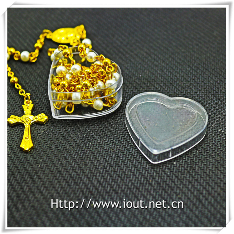 Heart Plastic Packing Box, Rosary Box, Religious Rosaries (IO-p027)