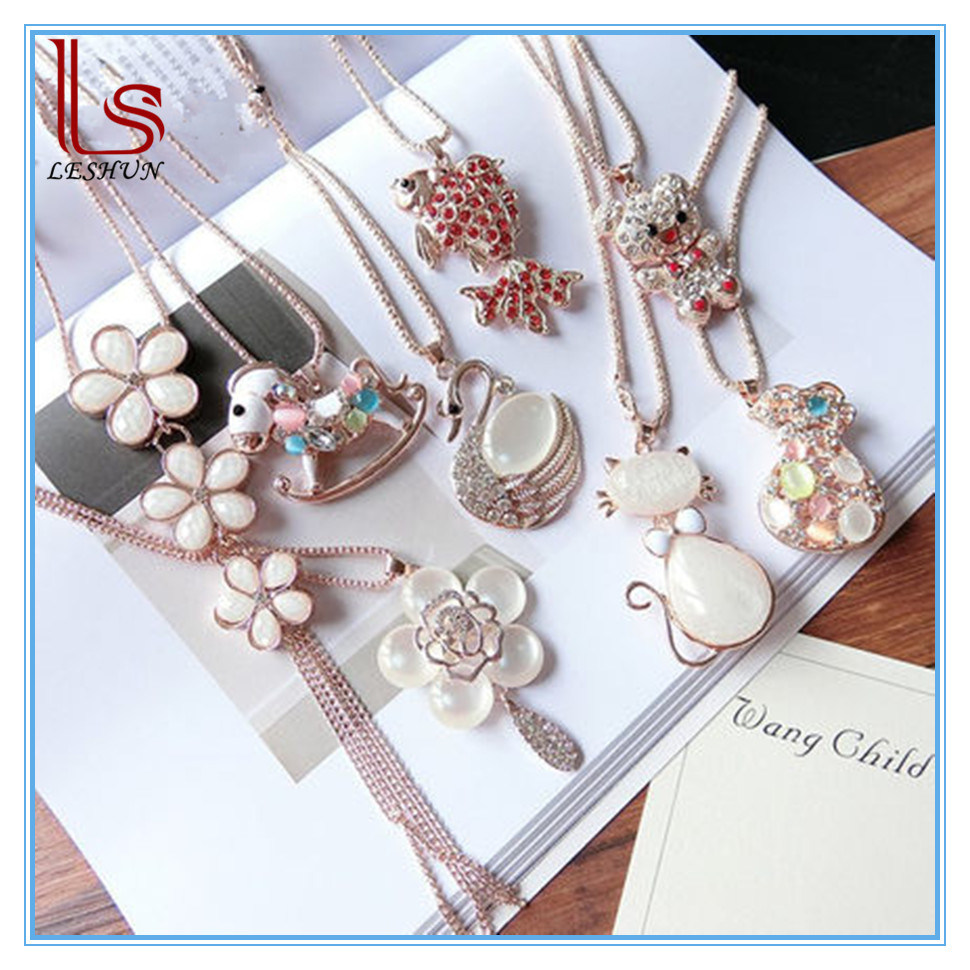 Fashion Women Flowers and Animals Long Gem Necklaces