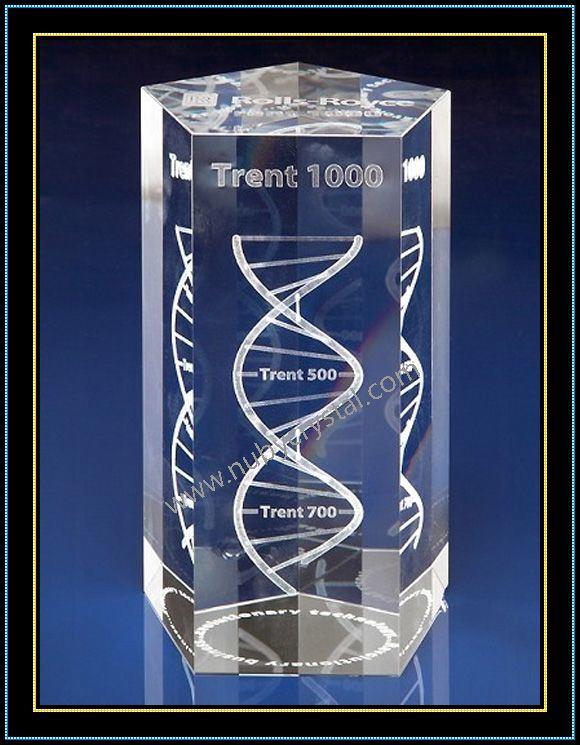 3D Laser Engraved DNA Crystal Pentagon Block