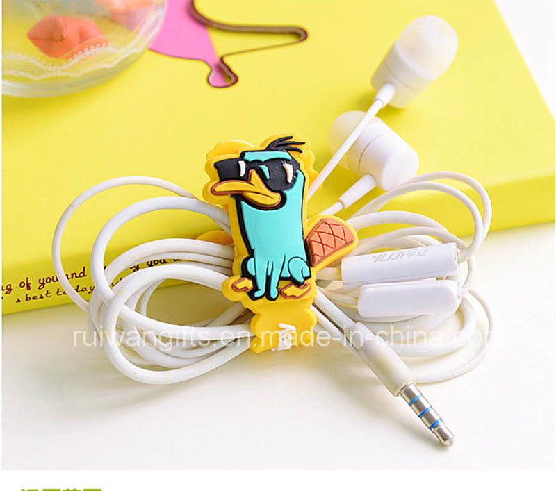 PVC Rubber Cable Winder Earphone Promotion Gift