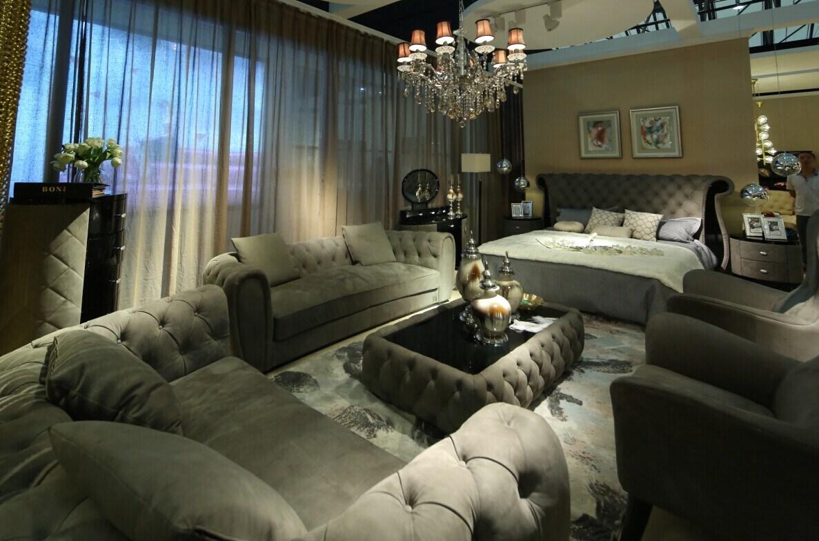 High Grade Leather Sofa Set, Villa Living Room, Home Furniture
