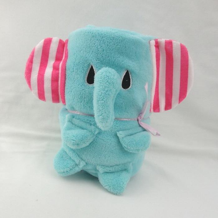 Baby Blanket- Coral Fleece- Animal Shape -Elephant