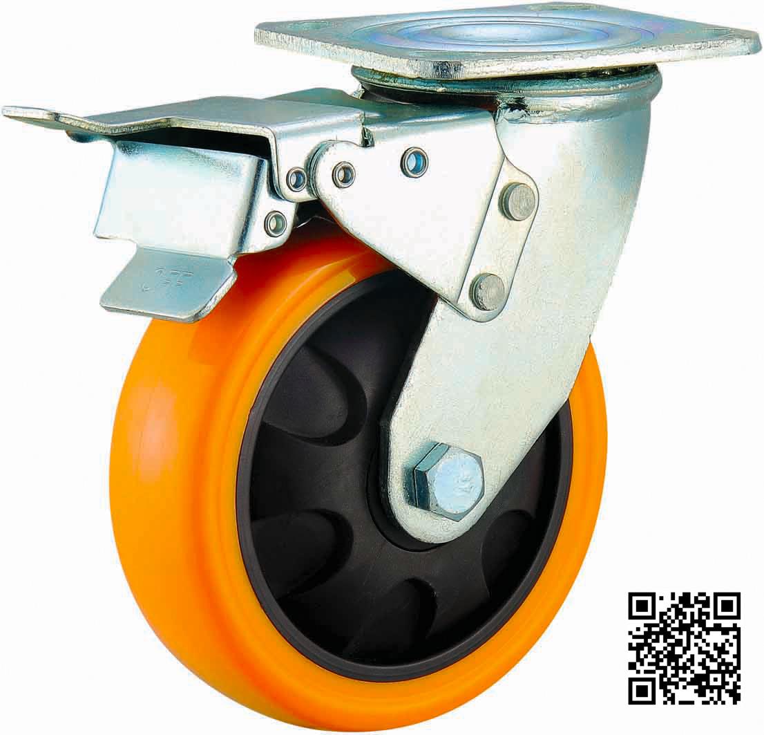 4/5/6/8 Inch Heavy Duty Orange PU Castor Wheel with Brake