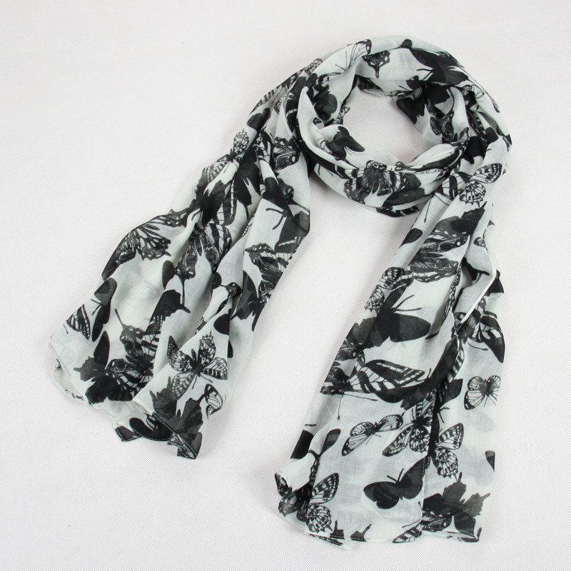 Women Black and White Butterfly Printing Design Scarf