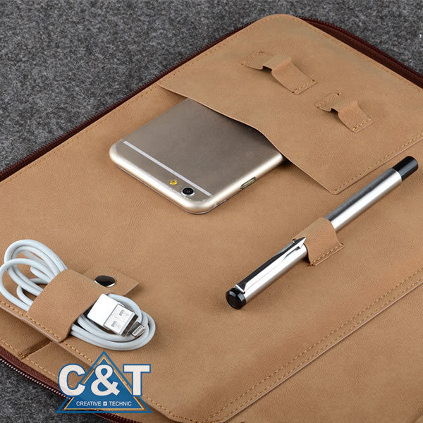 Padfolio Leather Laptop Travel Bag for iPad with Pocket