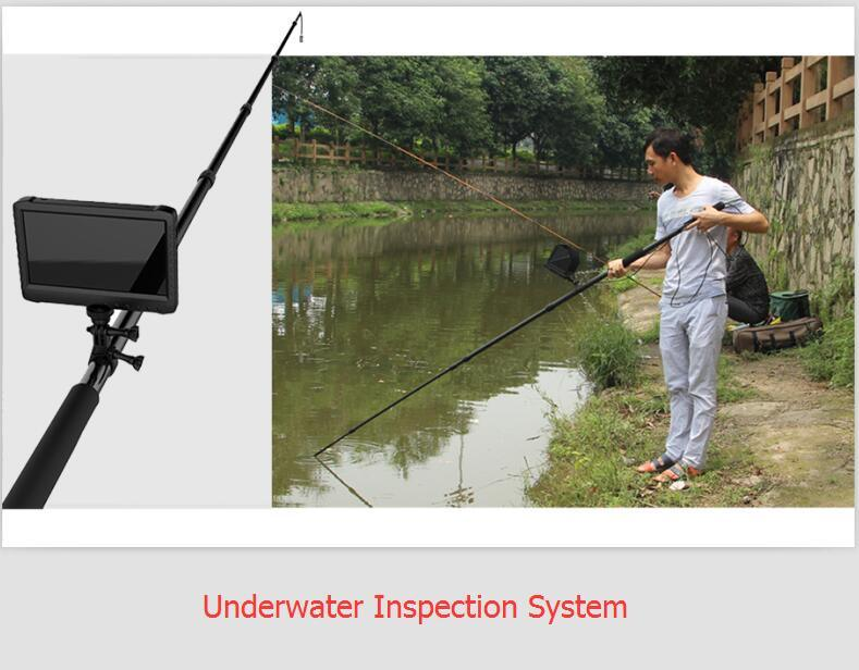 16feet/5m Telescopic Pole Handheld HD Video Inspection Digital Camera for Aquiculture/Pisciculture/Fish-Farming Inspection