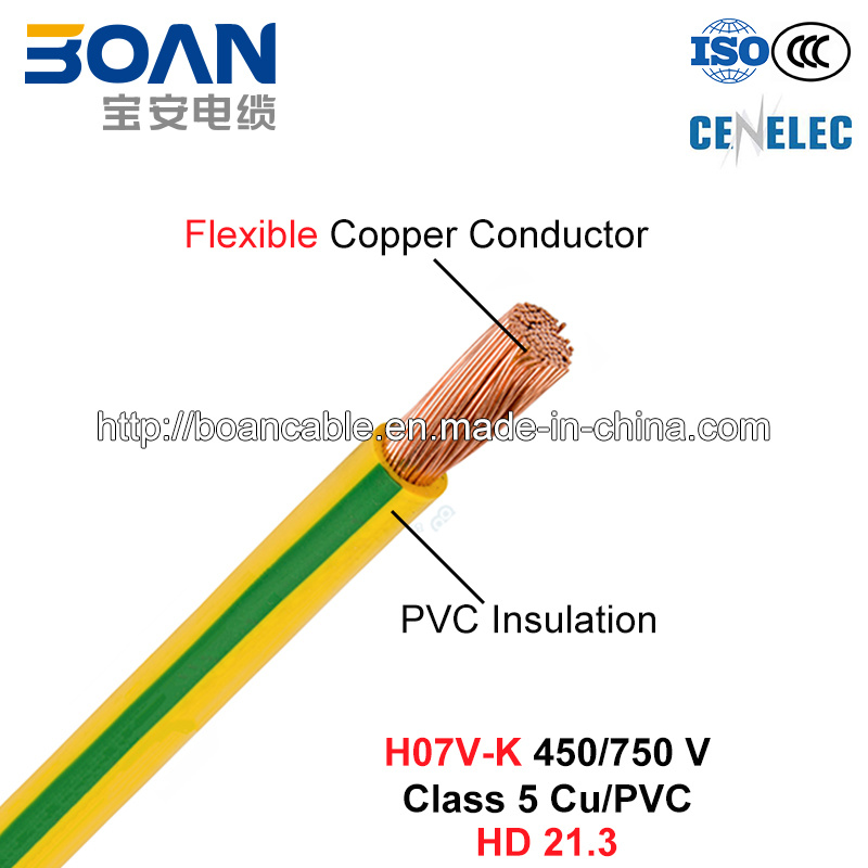 H07V-K, Electric Wire, House Wiring, 450/750 V, Class 5 Cu/PVC (HD 21.3)