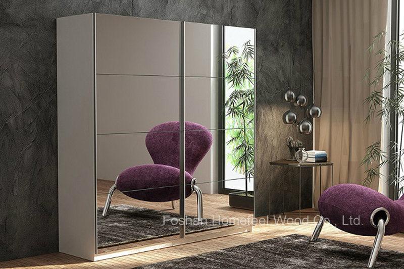 Modern Sliding Door Wardrobe with Full Mirror (HF-EY0223)