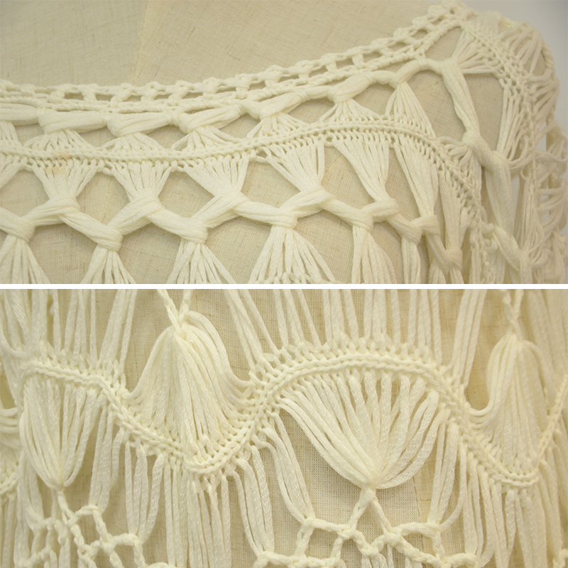 Women White Long Sleeve Crochet Dress