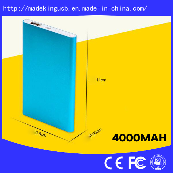 Slim Aluminium Alloy Portable 4000mAh Power Bank with Dual Output