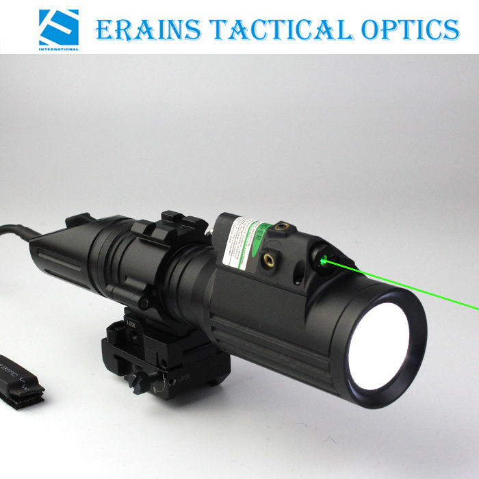 Tactical Professional Hunting 1000 Lumens CREE T6 LED Flashlight with Strobe Light Attached with Green Laser Sight