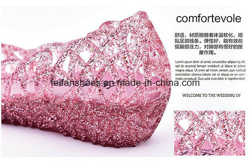 Lady Latest High Quality Crystal Jelly Sandals (FF614-6)