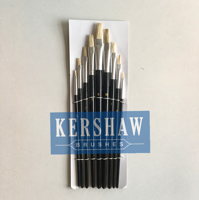 Artist Brush (ARTIST PAINTING BRUSH FLAT HEAD 9-PCS SET, blanch white bristle and wooden handle)