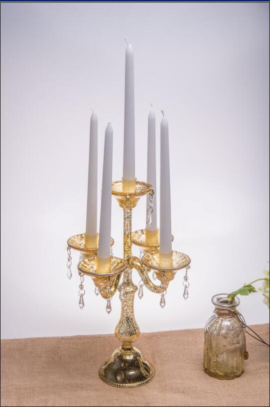 Antique Color Glass Candle Holder for Wedding Decoration with Five Poster