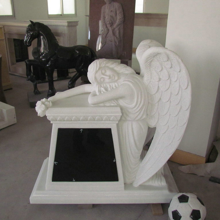 Crystal White Weeping Angle Tombstone
