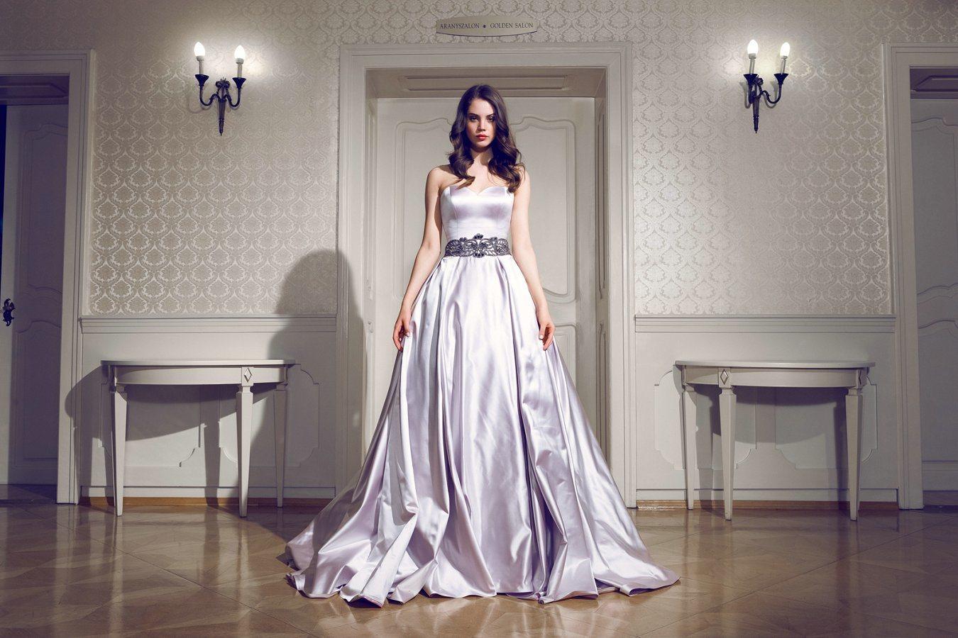 Purple Taffeta Sash Wedding Dress WDQH013