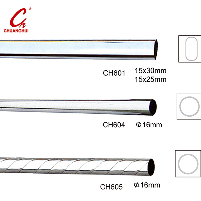 Round Chrome Curtain Iron Steel Pipe Tube Pole Rod (CH601)