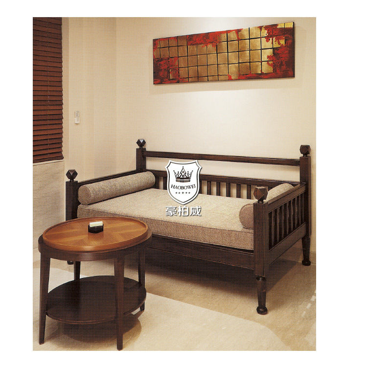 Ebony Wooden Sofa Cum Bed for Hotel
