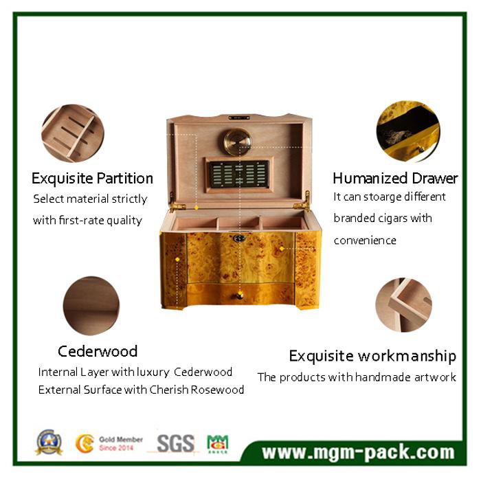 High Quality Cedar Wooden Storage Cigar Box with Drawer