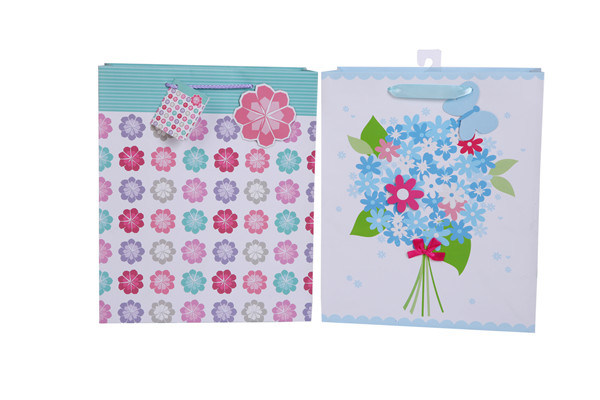 Colorful Flower Gift Paper Bags Gift Shopping Bags