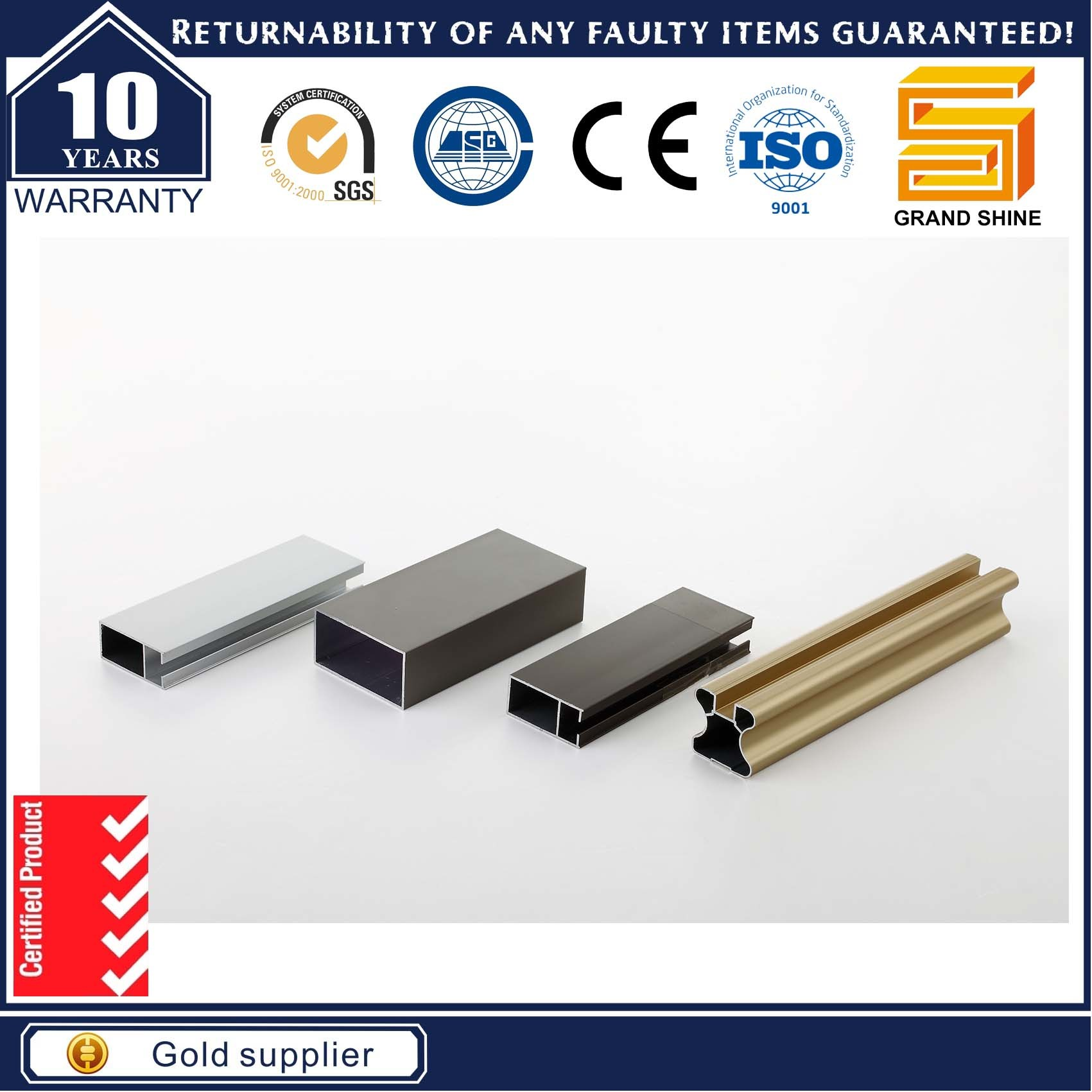 Aluminum/Aluminium Alloy 6063 Extrusion Doors Windows Profile