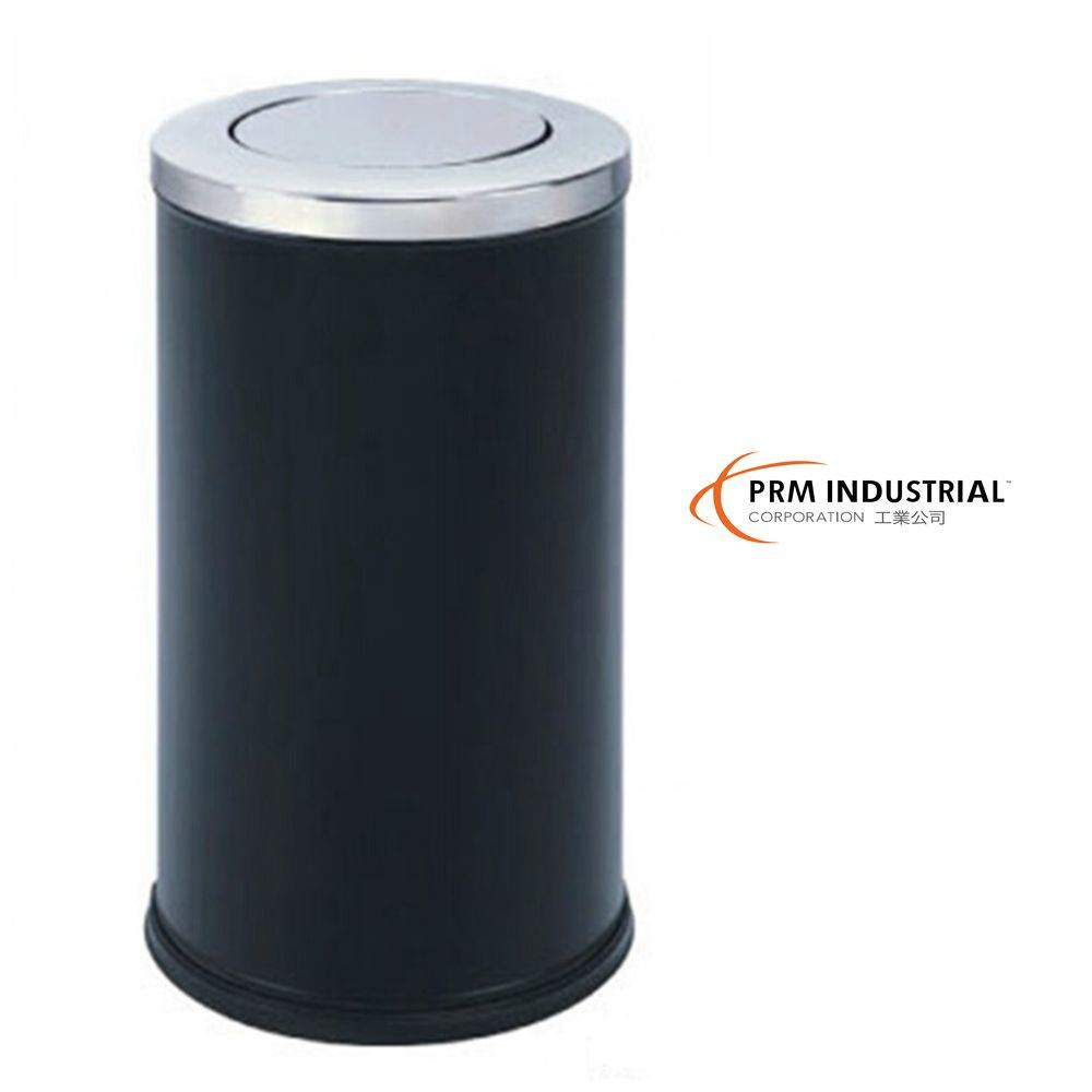 Circle Black Powder Coated Steel Indoor Dustbin