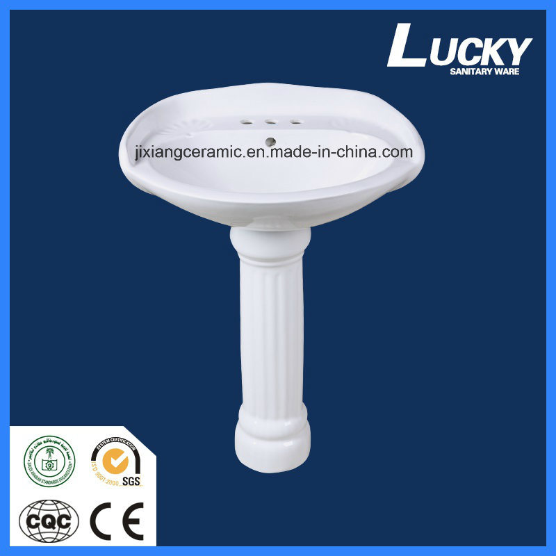 Ceramic Washbasin Pedestal 24inches with Saso/Ce