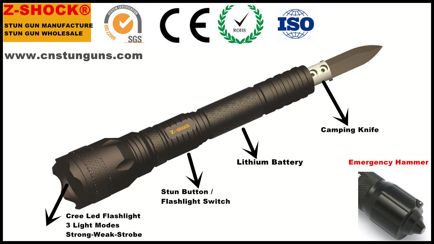 Security Police Force Tactical Stun Baton Flashlight