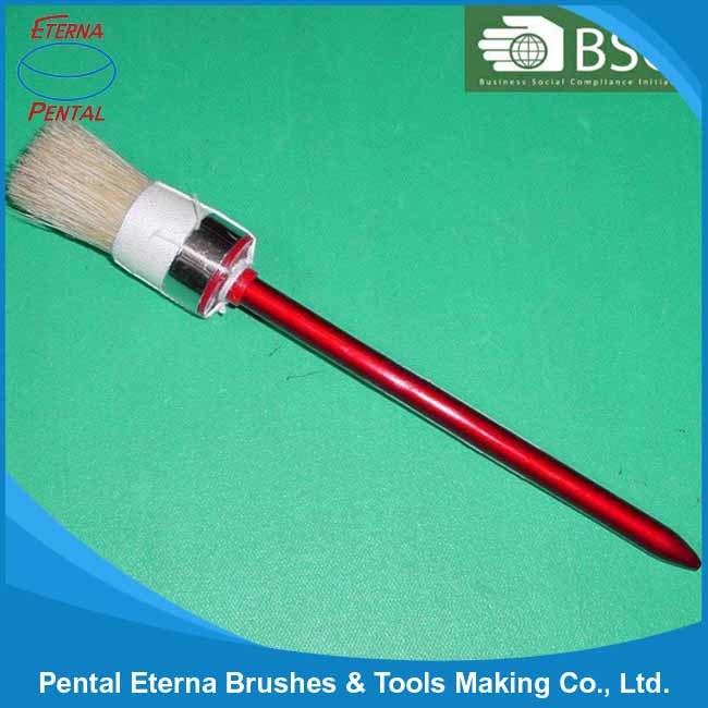 White Bristle Round Brush with Wooden Handle Paint Brush