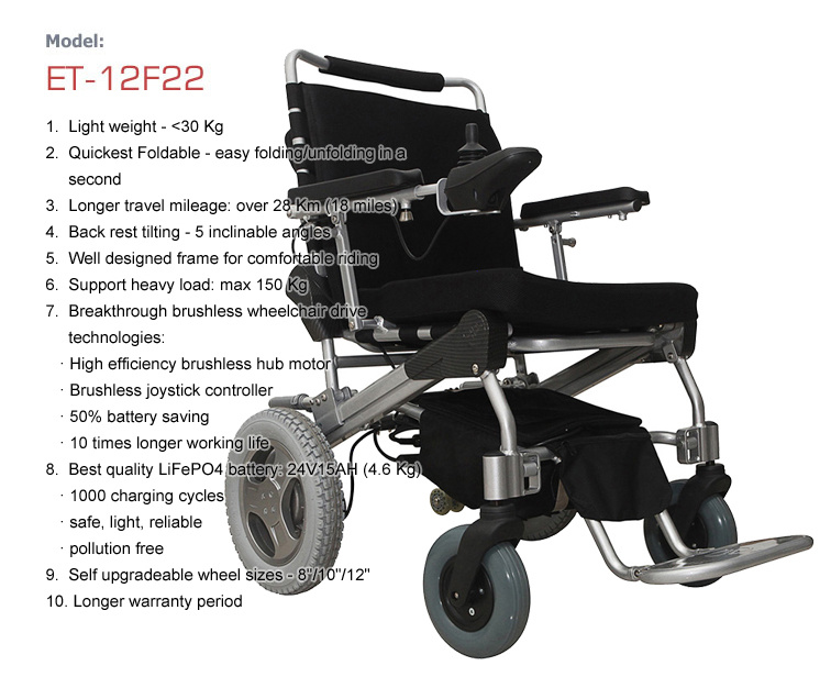 Foldable Lightweight Electric Wheelchair Et-12f22, with Best LiFePO4 Battery for Disabled, Elder