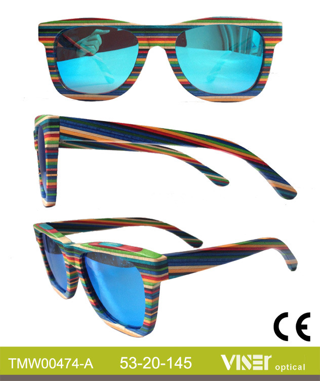 Fashion Wooden Sunglasees with High Quality (474-A)