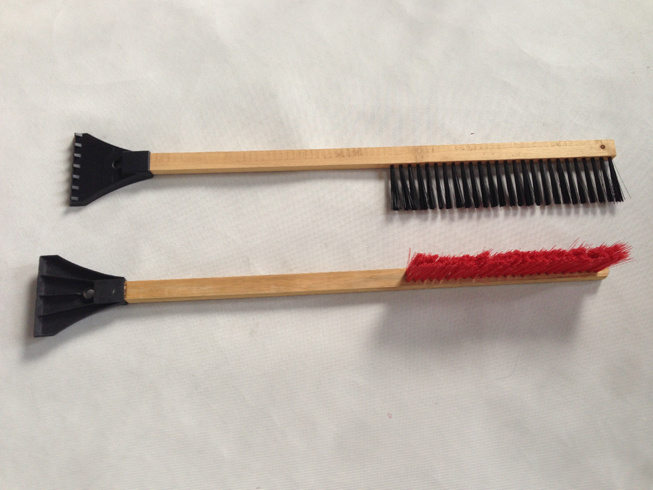Wooden Handle Snow Brush with Scraper