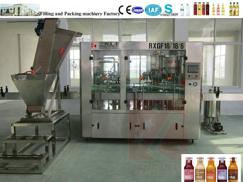 Glass Bottle Juice Filling Plant/Fresh Squeezed Juice Filling Machine (3 in 1)