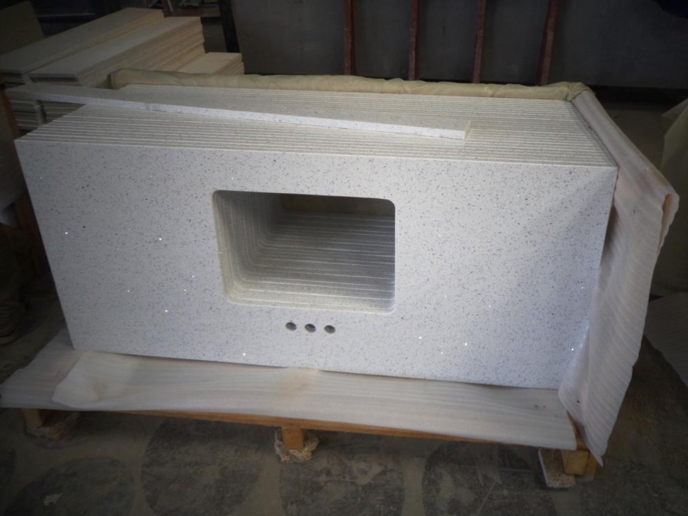 China Artificial Sparkling White Quartz Stone Vanity Top For Bathroom -  China Quartz Stone, Artificial Quartz