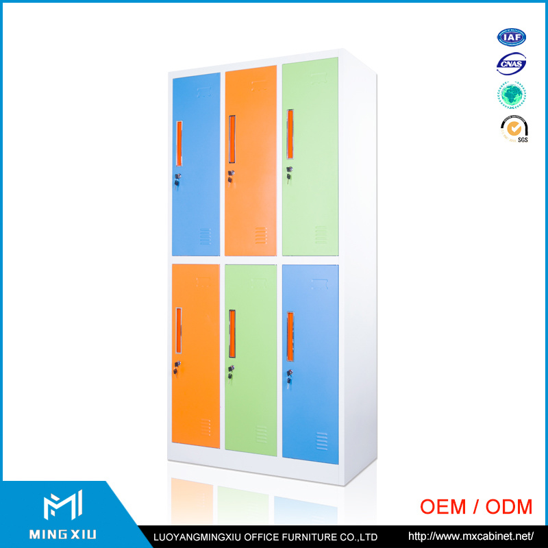 Luoyang Mingxiu Colorful Changing Room 6 Door Luggage Parcel Locker Metal 6 Door Locker for School