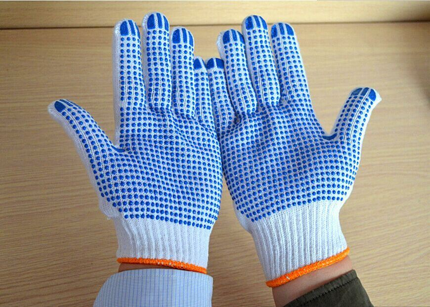 Safety PVC Dotted Cotton Gloves Knitted Working Gloves
