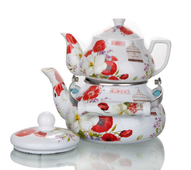 2.0+0.85L Enamel Teapot with Decal