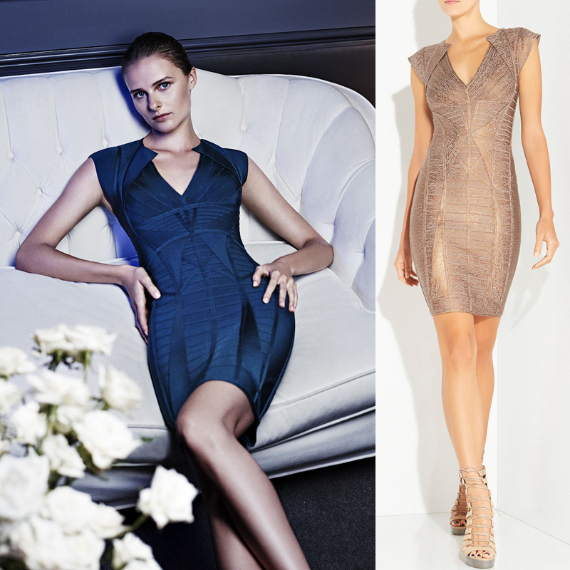 Luxury Golden Foil Slim Bandage Evening Dress
