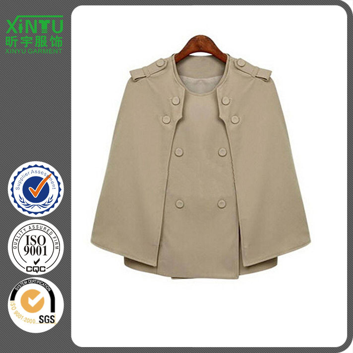 2016 Khaki Wool Facny Women Cape Blazer with Removable Sleeves