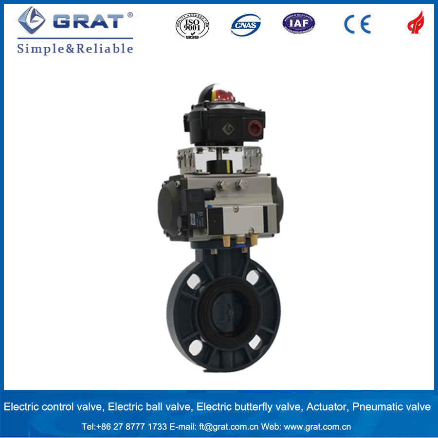 Wafer Type Plastic Butterfly Valve with Pneumatic Driver