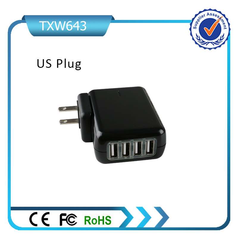 5V 4.2A Mini USB Charger 4 USB Wall Charger Removable Plug Travel Charger